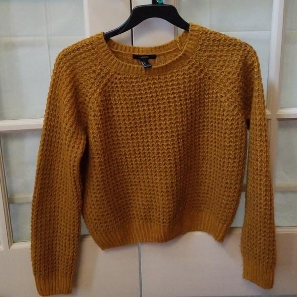 Waffle knit sweater mustard